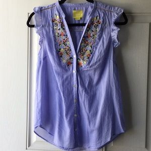 Maeve by Anthropologie Light Blue Top with Flowers